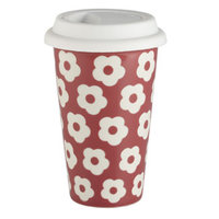 Rosy Red Double Wall Ceramic Travel Mug