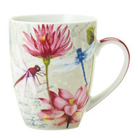 Pink Vintage Postcard Mug with Dragonflies