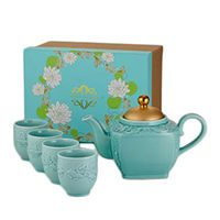 Golden Carp Teapot and Four Cup Set