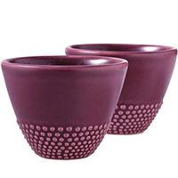 Plum Water Bead Ceramic Cups - Set of 2