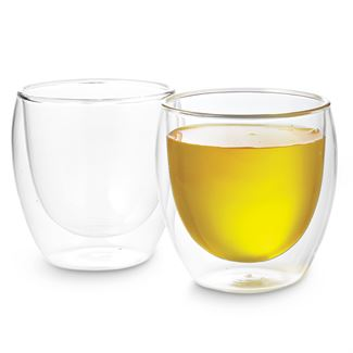 9 Oz Pavina Double Wall Glass Cups Set Of 2 The