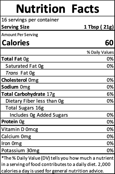 honey nutrition label