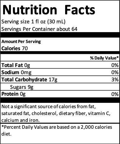tea concentrate nutrition label