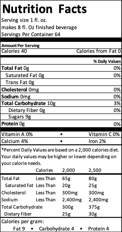 tea concentrate nutrition label