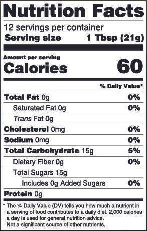 Manuka Honey Nutrition Label