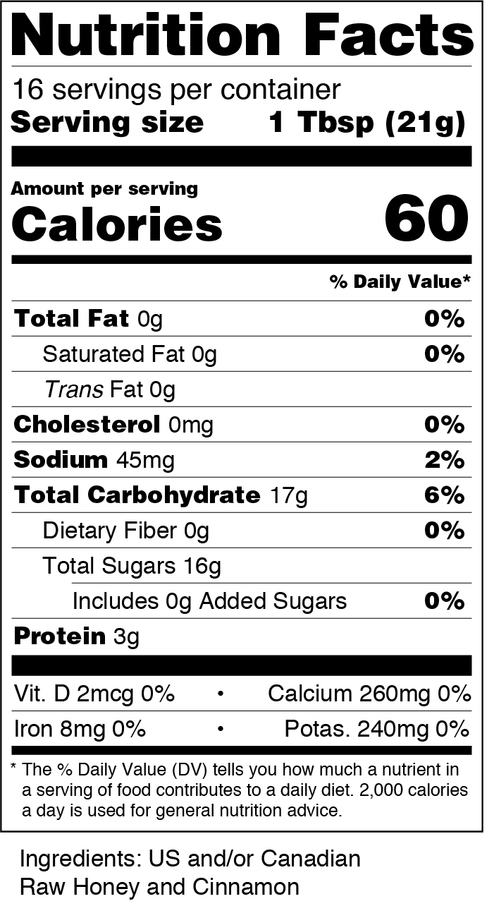 honey nutrition label